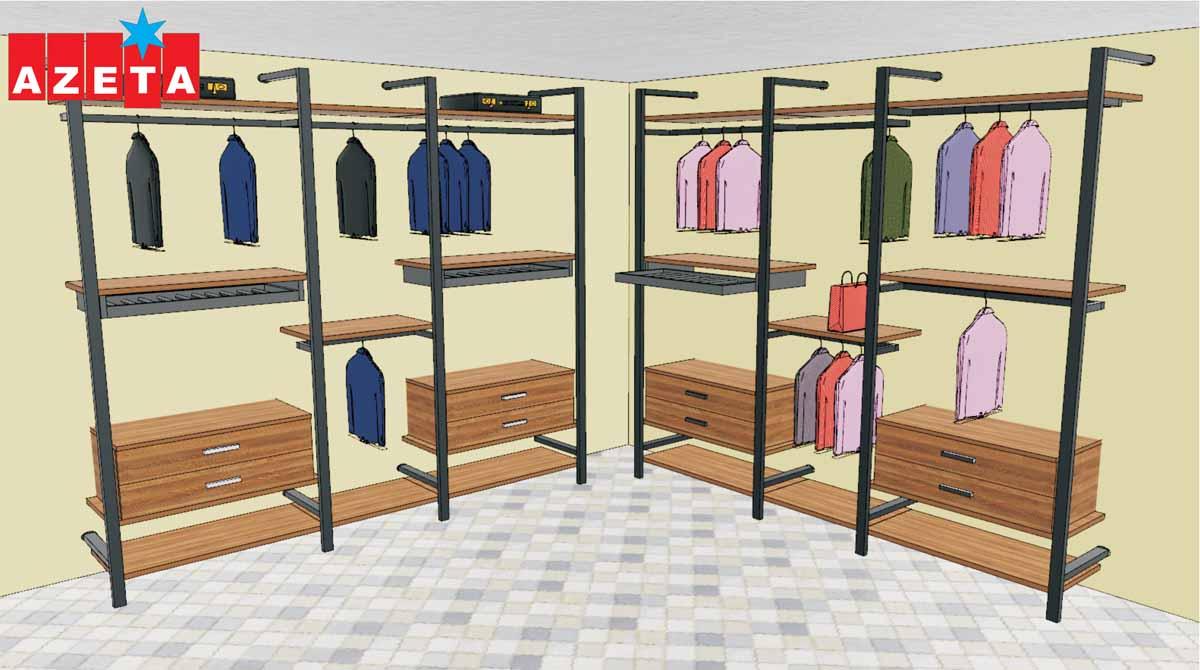 Progetto grafico cabina armadio modello Firenze